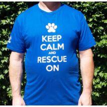"""""""Keep calm and rescue on"""" feliratú királykék férfi póló"""