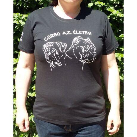 Cane corso-s fekete női póló