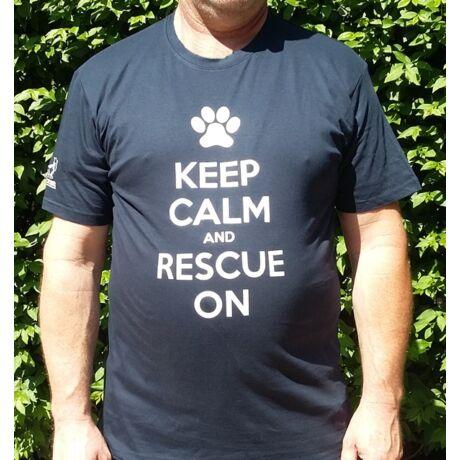 """""""Keep calm and rescue on"""" feliratú sötétkék férfi póló"""
