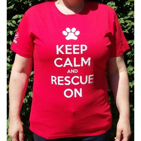 "Piros női ""Keep calm and rescue on"" póló"