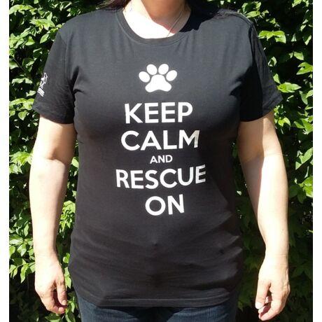 """Fekete női """"Keep calm and rescue on"""" póló"""