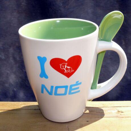 """Zöld """"I love NOÉ"""" bögre"""